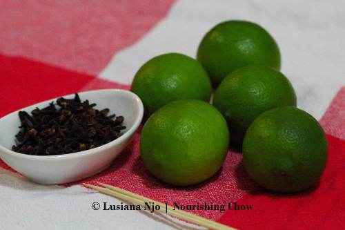 Cloves, limes & Skewers for making pomanders