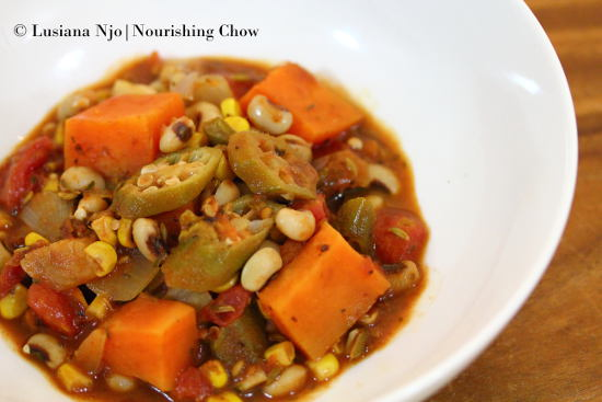 Vegetarian Gumbo, with black eyed beans, corn, okra & sweet potatoes
