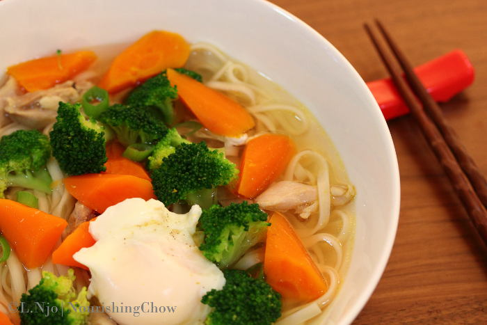 Chicken, egg and vegetable noodle soup