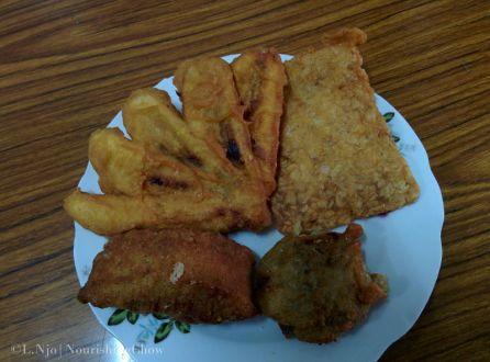 tempeh, tofu, mung beans, banana fritters