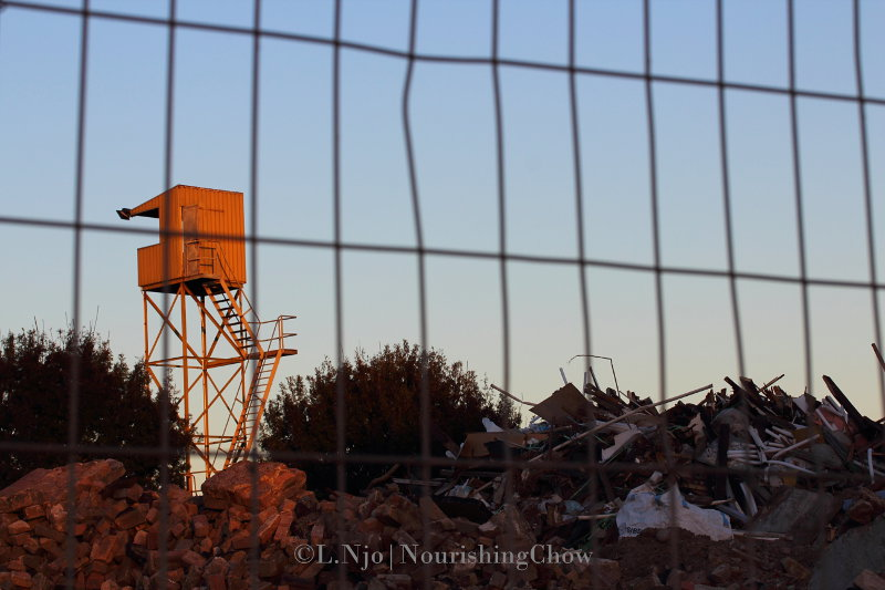 rubble, construction site, orange tower