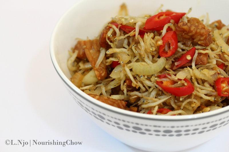 sambal, dried anchovies, ikan bilis, ikan teri, tempeh