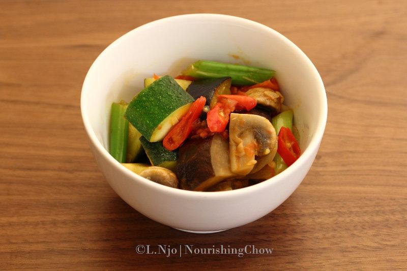 Eggplant, mushroom and zucchini sambal