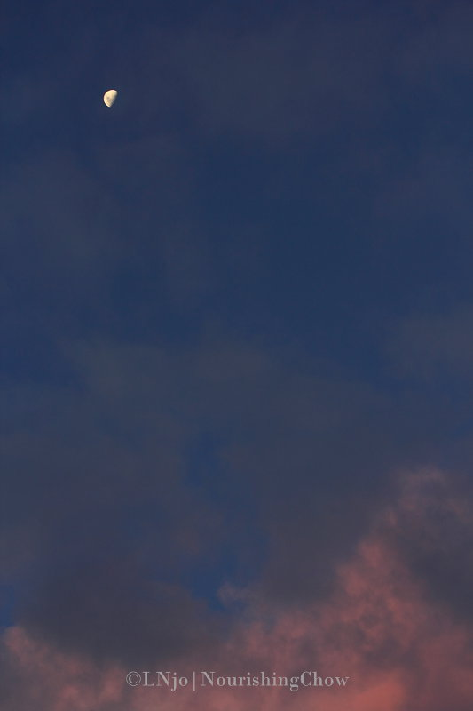 clouds, sunset colour, moon