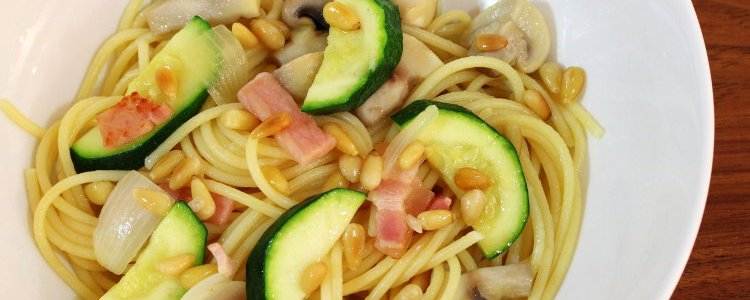 sauteed pasta, mushroom, zucchini, pine nuts
