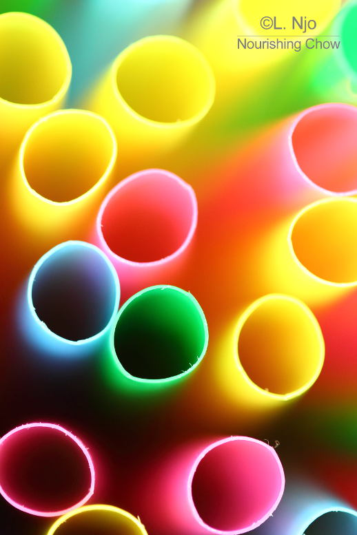 drinking straws, up close, macro